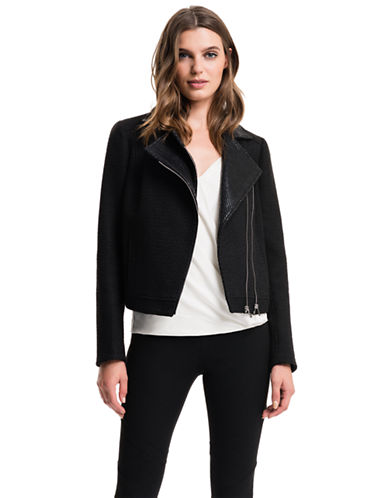 1 State Coated Tweed Moto Jacket