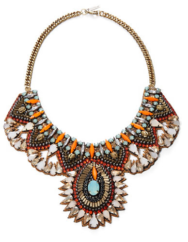 Deepa Gurnani Crystal and Nappa Leather Bib Necklace- 10 In