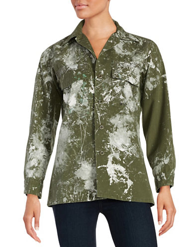 RIALTO JEAN PROJECT Splatter Paint Military Shirt