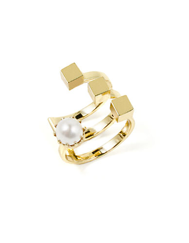 JOOMI LIM Staggered Cube and Faux Pearl Cuff Ring