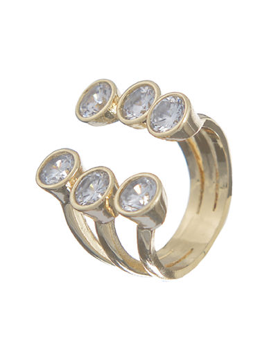 T&C THEODORA & CALLUM Gold-Tone and Glitz Triple Row Ring