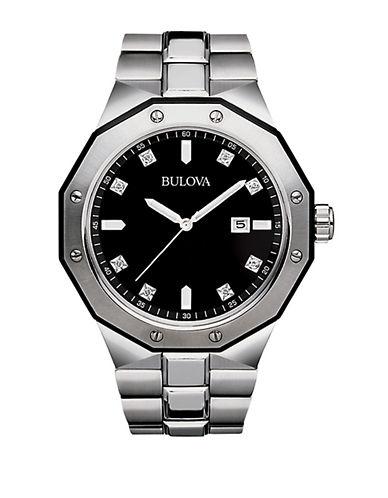 BULOVAMens Geometric Stainless Steel Watch with Diamond Markers