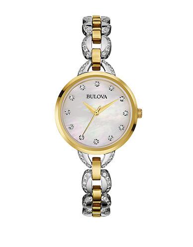 BULOVALadies Two Tone Glitz Bracelet Watch