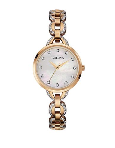 BULOVALadies Rose Gold Tone Glitz Bracelet Watch