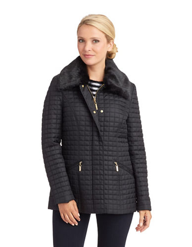 PLANET LONDON Fur Collar Quilted Zipper Coat
