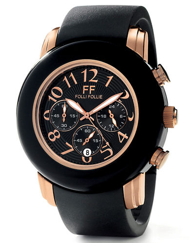 FOLLI FOLLIE Ladies Urban Spin Black and Rose Gold Watch