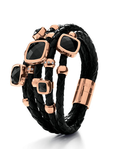 FOLLI FOLLIE Faux Leather and Black Crystal Bracelet