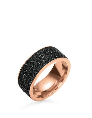 FOLLI FOLLIEMatch and Dazzle Rose Gold Black Crystal Ring
