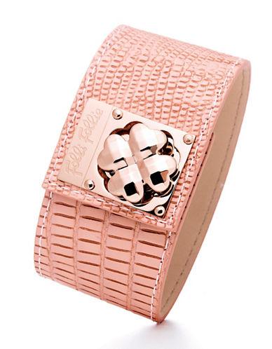 FOLLI FOLLIETouch Rose Gold Heart4Heart Pink Cuff Bracelet