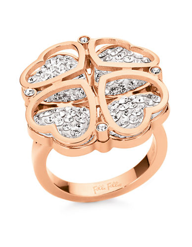 FOLLI FOLLIEHeart4Heart Rose Gold-Plated Heart-Clover Ring