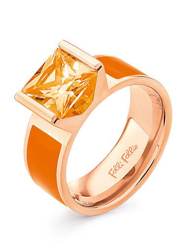FOLLI FOLLIE Rose Gold-Plated Crystal And Enamel Ring