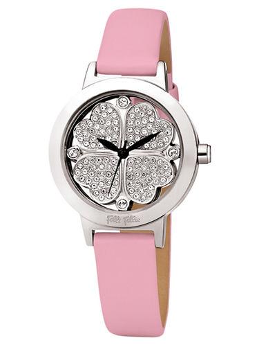 FOLLI FOLLIEHeart4Heart Silver-Tone Crystal and Leather Watch