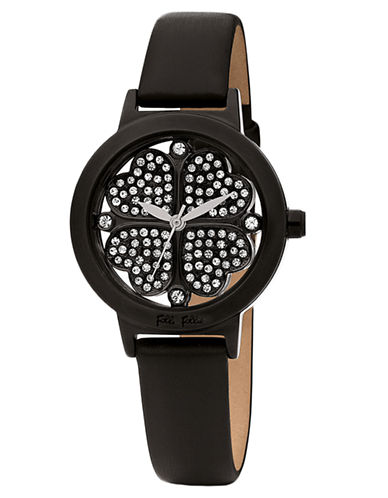 FOLLI FOLLIEHeart4Heart Stainless Steel Crystal and Leather Watch