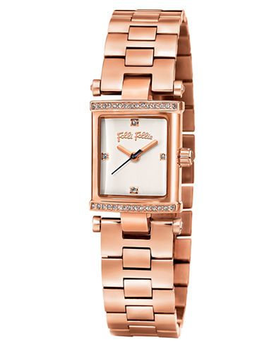 FOLLI FOLLIESquare Logic Rose Gold-Plated and Crystal Watch