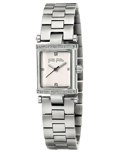 FOLLI FOLLIESquare Logic Silver-Plated and Crystal Watch