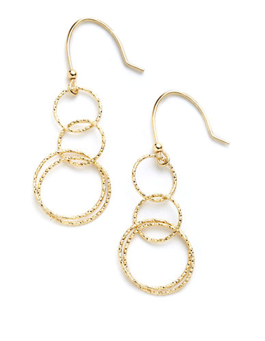 LORD & TAYLOR18 Kt. Gold Over Sterling Silver Double Hoop Drop Earrings