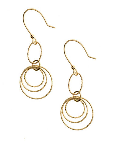 LORD & TAYLOR18 Kt. Gold Over Sterling Silver Textured Orbital Drop Earrings
