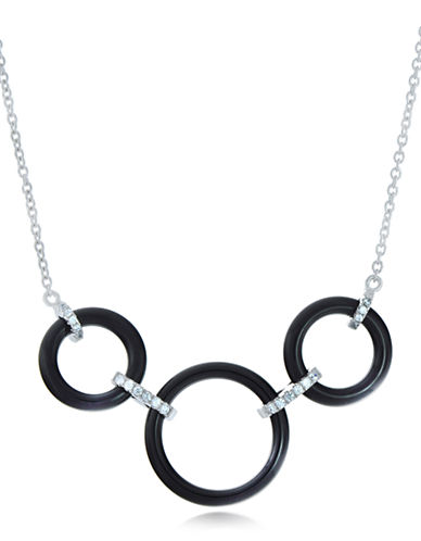LORD & TAYLORCeramic Gem Tri-Ring Sterling Silver Necklace