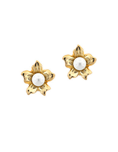 LORD & TAYLOR Gold Plated Sterling Silver and Pearl Flower Stud Earrings