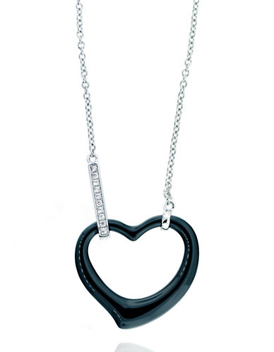 LORD & TAYLORSterling Silver Black Ceramic Pave Heart Necklace