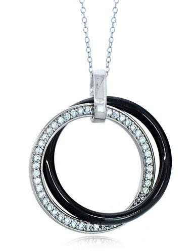 LORD & TAYLORCeramic Gem Faux Diamond and Black Ceramic Interlocking Pendant Necklace