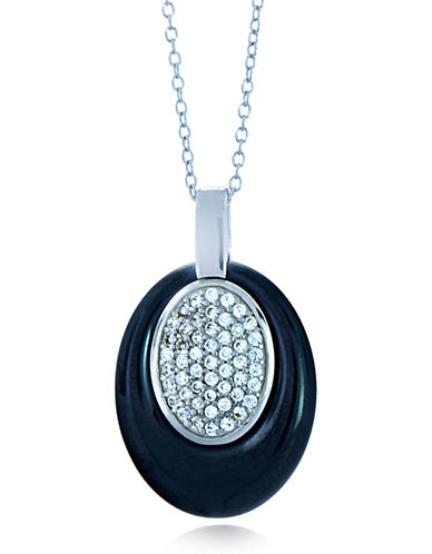 LORD & TAYLORCeramic Gem Faux Diamond and Ceramic Oval Pendant Necklace