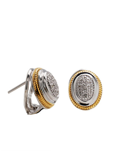 LORD & TAYLOR Sterling Silver and 14 Kt. Yellow Gold Earrings with Diamond Accents
