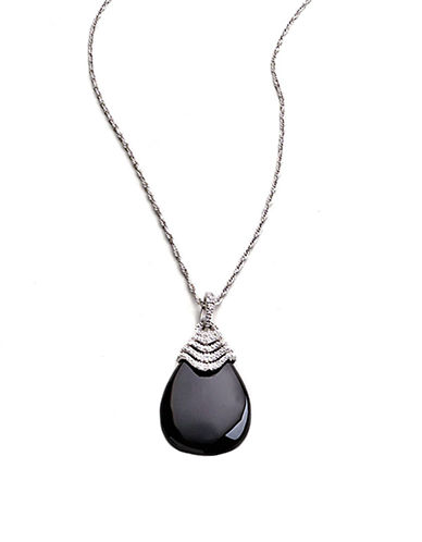 LORD & TAYLOR Onyx Drop Necklace