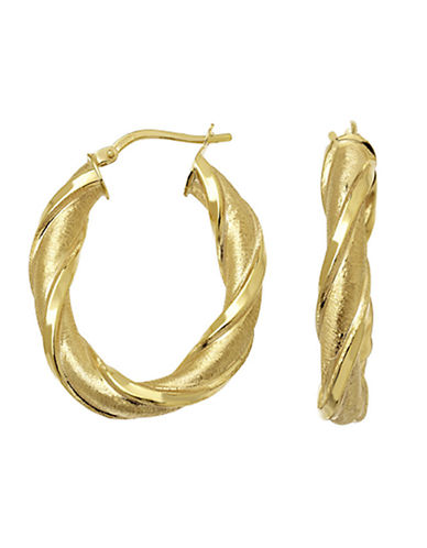 LORD & TAYLOR14 Kt Yellow Twist Oval Hoop Earrings