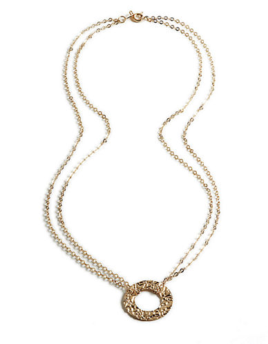 LORD & TAYLOR 14 Kt. Gold Circle Pendant Necklace