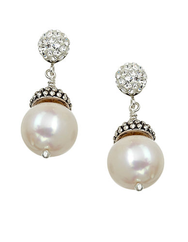 LORD & TAYLOR Sterling Silver Pearl and Crystal Drop Earrings with Oxidized Beads