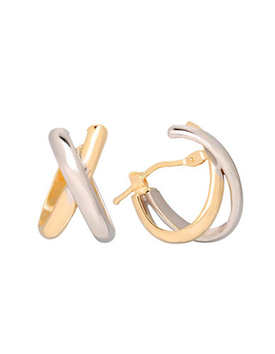 LORD & TAYLOR14 Kt. Yellow and White Gold Polished Hoop Earrings