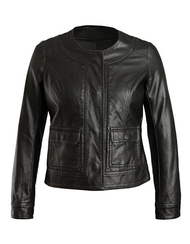 KUT Lincoln Faux Leather and Jersey Drape Front Jacket