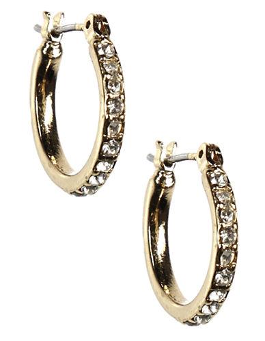 ANNE KLEIN12 Kt Gold Plated Crystal Hoop Earrings