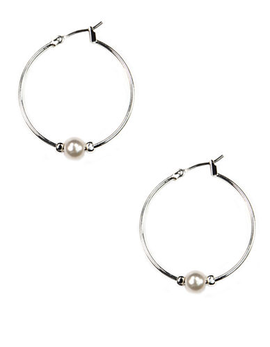 ANNE KLEIN Silver-Tone Hoop Earrings with Faux Pearl Accent
