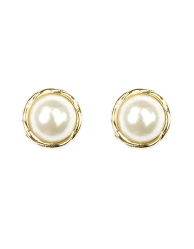 ANNE KLEIN Goldtone and Faux Pearl Stud Earrings