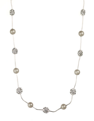 ANNE KLEIN Silvertone Necklace with Faux Pearl and Pave Crystal Accents