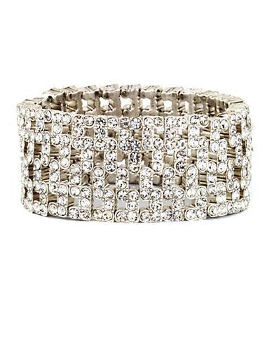 ANNE KLEINSilver-Tone Wide Stretch Crystal Encrusted Bracelet