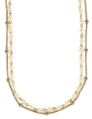 ANNE KLEIN Gold Tone and Cream Pearl Double Strand Necklace