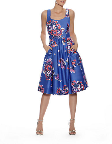 Donna Morgan Floral Print Pleated Fit and Flare Dress