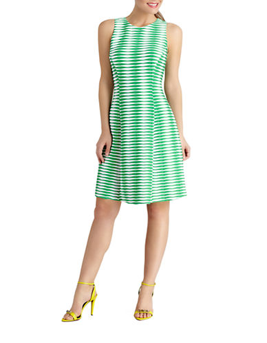 DONNA MORGANGeo Stripe Fit and Flare Dress