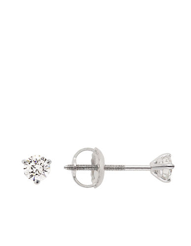 LORD & TAYLOR14Kt White Gold 0.50 ct t w Certified Diamond Stud Earrings with Screw Back