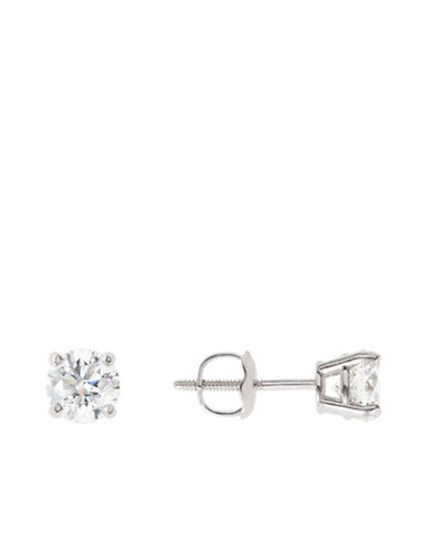 LORD & TAYLOR14 Kt White Gold 0.75 ct t w Certified Diamond Studs