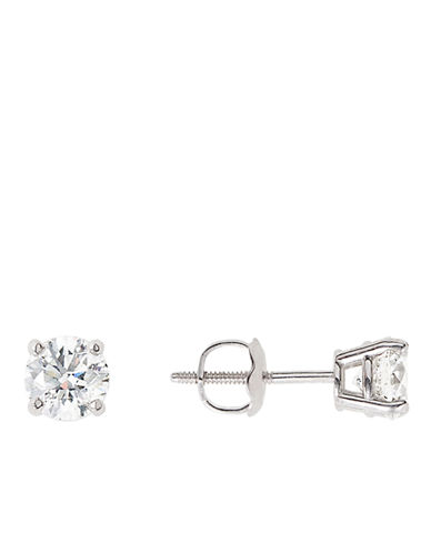 LORD & TAYLOR 14Kt White Gold 1.0 ct t w Certified Diamond Stud Earrings with Screw Back