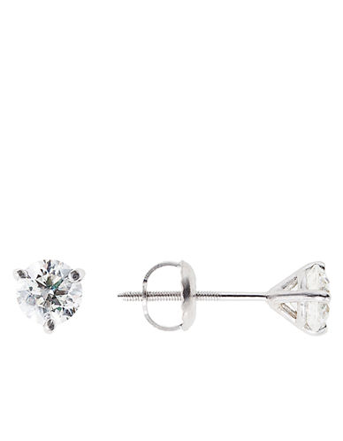 LORD & TAYLOR 18Kt White Gold 1.0 ct t w Certified Diamond Stud Earrings with Screw Back