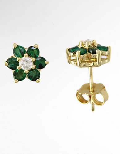 14 Kt. Yellow Gold Emerald & Diamond Flower Stud Earrings