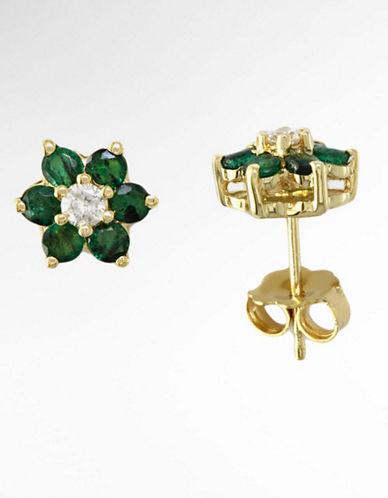 14 Kt. Yellow Gold Emerald & Diamond Flower Stud Earrings