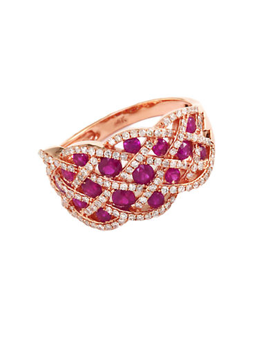 EFFY Rosa Ruby and Diamond Ring in 14 Kt. Rose Gold