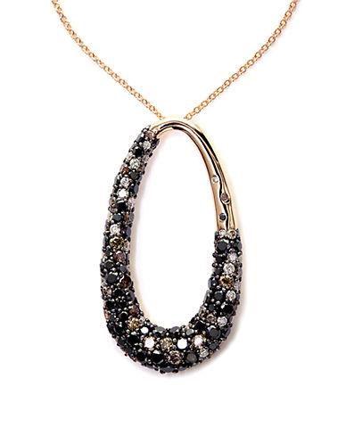 EFFYBlack, Brown And White Diamond 14K Rose Gold Pendant Necklace, 2.47 TCW