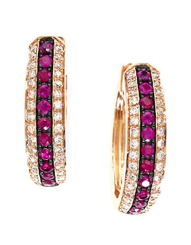 EFFYDiamond And Ruby 14K Rose Gold Hoop Earrings
